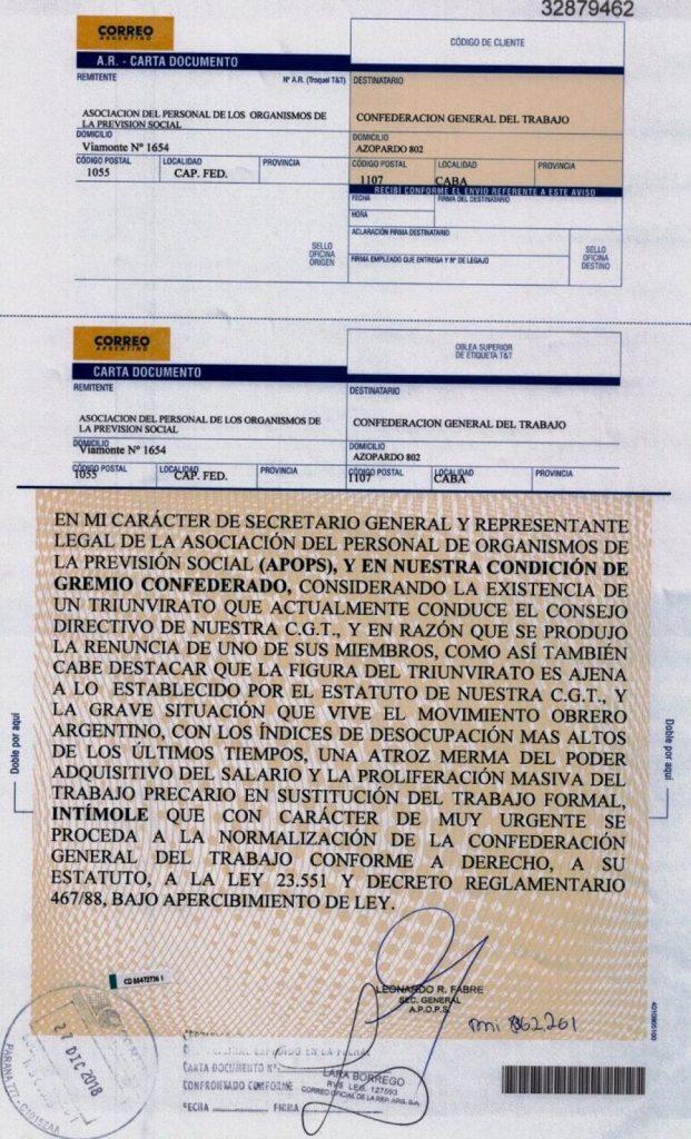Con Una Dura Carta Documento Fabré Intimó A La Conducción